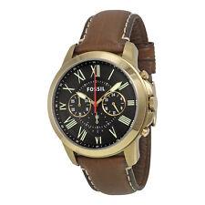 Fossil Grant Black Dial Brown Leather Mens Quartz Watch FS5062