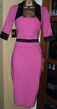 HYBRID PINK BLACK PENCIL BODYCON DRESS SZ 8/10