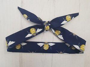 Navy Blue Bee Baby Head Scarf - Cotton Bib Baby Shower Bandana Bib