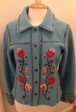 Chaska Women 100% Wool Aqua Blue Embroidered Jacket Size Small