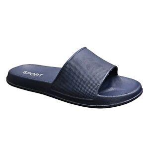 NEW Men's Casual Sandals Rubber Slides Black Navy Slipper Shoe Size 7-12 (S-XL)