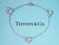 Tiffany & Co Elsa Peretti Sterling Silver 3 Three Open Heart Bracelet