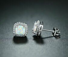 Natural Fire Opal and White Topaz Halo Sqaure Stud Earrings 925 Sterling Silver
