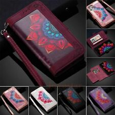 For iPhone 11 12 Pro Max XR SE 7 8 Printed Wallet Card Holder Case Leather Cover