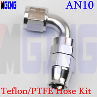 AN10 10AN AN -10 Swivel Oil Teflon PTFE E85 Fuel Line Hose End Fitting 90 Degree