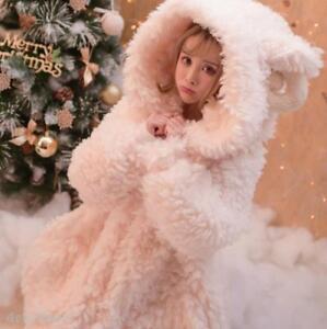 Women's Faux Fleece Fur Winter Jacket Lolita Coat Snow Warm Sweet Warm Outwear