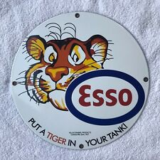 "ESSO Put a Tiger In Your Tank! 12"" Round PORCELAIN METAL GASOLINE SIGN NOS"