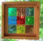 Stained Glass Panel. Vintage 1964, Mouth Blown German Glass- Framed - Squares
