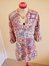 KATIES White Peach Blue BLOUSE TOP Size 16 Coral Red Pink 3/4 or Short Sleeves