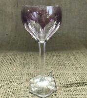 Vintage Val St Lambert Crystal Purple Color Block Cut to Clear Wine Glass