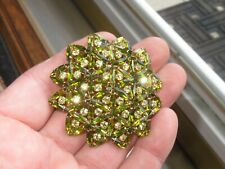 Vintage Rhinestone Brooch Pin Jewelry Navette Green Austria (486B)