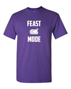 Feast Mode T-Shirt Thanksgiving Food Christmas Feast Time Tee Shirt Short Sleeve