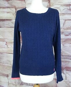 JOULES navy blue cotton wool cashmere cable knit jumper size 12
