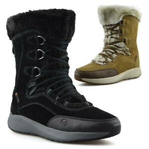 Womens Waterproof Leather Walking Warm Fur Snow Winter Mid Calf Boots Shoes Size