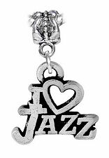 I Heart Jazz Love Music Band Word Dangle Charm for Silver European Bead Bracelet