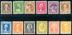 USAstamps Unused VF-XF US 1932 Washington Bicentennial Set Scott 704-715 OG MNH