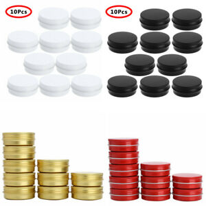 10 Aluminum Jars Screw Top Metal Tin Cans Pot Cosmetic Containers Box 30ml w/Lid