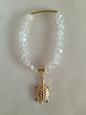 """CLEAR IRIDESCENT FACETED BEADS STRETCH BEADED BRACELET GOLD TURTLE CHARM 6"""""""