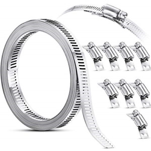 Clamps Hose Stainless Steel Worm Clamp, Hose Clamp Strap with Fasteners, 304 DIY