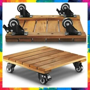 PLANT CADDY Acacia Wood Rolling Dolly Roller Stand with Wheels Set of 2 LITADA