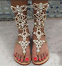 34-47 Women Gladiator Sandals Rhinestone Roman Beach Thong Sandals Boots Shoes