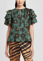 Who What Wear Women's Floral Print Peplum Ruffle Blouse Top, Green, Size M
