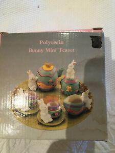 Polyresin Bunny Mini Tea set with box; playful rabbit themed small teaset