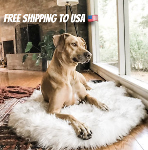 Faux Fur Orthopedic Dog Bed Support Memory Foam Cover ULTRA SOFT And Plush