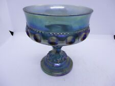 VTG CARNIVAL GLASS IRIDESCENT BLUE THUMBPRINT FOOTED COMPOTE CHALICE