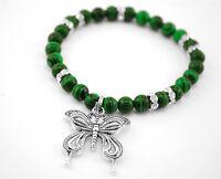 Handmade Semi Precious Stone Bracelet Green Malachite Stone, Elastic Bracelet