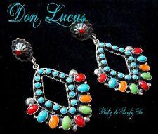 Don Lucas~Jovial~Multi Color Diamond Shape Cluster~925 Earrings