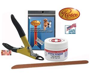 RESCO DELUXE JUMBO Large DOG GROOMING NAIL CLIPPER KIT-Styptic,File,Extra Blade