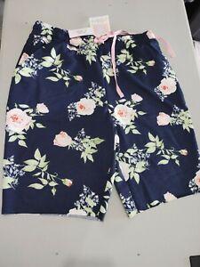 Lularoe Jamie Shorts Dark Blue W Roses Size S Drawstring Waist, Pockets