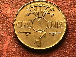 FIRST REPUBLIC OF LITHUANIA 1 CENT 1925 (UNC)