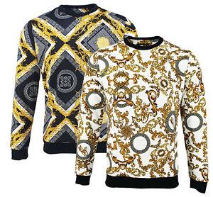 Mens Baroque Print Lion Designer Hip-hop Urban Bling Sweatshirt Pullover Sweat