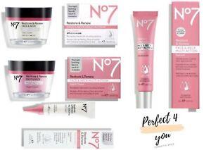 No7 Restore & Renew FACE & NECK MULTI ACTION Serum, Day, Night & Eye Creams New