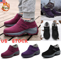 Women Lady Fur Lined Anti-Slip Snow Boots Winter Warm Sneaker Shoes Size 5.5-8.5