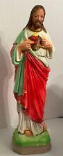 "Vintage Chalkware Sacred Heart of Jesus Statue Catholic Religious Figure 13"""