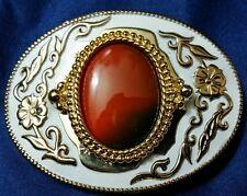 White Enamel Metal Gold Accent Dark Orange Ceramic Oval Stone Cowboy Belt Buckle