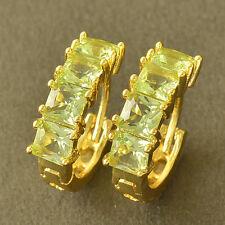 Charming 9K Yellow Gold Filled Apple Green Cubic Zirconia Hoop Earrings,Z5202