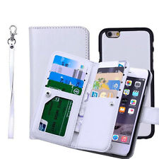 Leather Removable Wallet Magnetic Flip Card Case Cover for iPhone X 6S 7 8 Plus