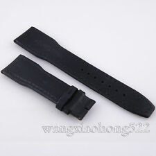 22mm black fabric Leather Strap Band fit parnis mens watch 044