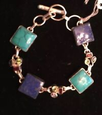 Sterling Silver Toogle Bracelet with Turquoise, Lapis & semi precious stones