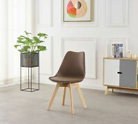 Jamie Lorenzo Tulip Brown Dining Chair Padded Seat Eiffel Wood Legs Retro Modern