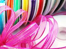 "25 yard Spool/Roll 3/8"" Organza Ribbon Gold Edge Trim/Sheer/Hot Pink R11-Fuchsia"