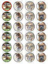 X24 BOXER DOG CUP CAKE TOPPERS DECORATIONS ON EDIBLE RICE PAPER