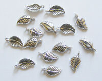 20 Leaf Charms, Leaf Pendants - 15mm - Antique Silver