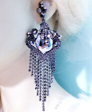 Huge Drag Queen Gray Rhinestone Chandelier Earrings Bridal Prom Pageant 4.9 inch
