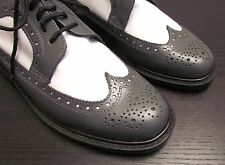 Scarpe stringate bicolore bianco grigio BRENTANO 8 M Grey White Leather Shoes *