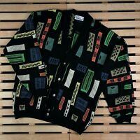 Rare Mens Sweater Cardigan Carlo Colucci Vintage Multicolor Size L